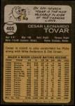 1973 Topps #405  Cesar Tovar  Back Thumbnail