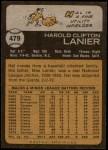 1973 Topps #479  Hal Lanier  Back Thumbnail