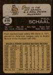 1973 Topps #416  Paul Schaal  Back Thumbnail