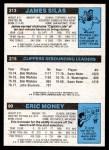 1980 Topps   -  Eric Money / Swen Nater / James Silas 90 / 215 / 213 Back Thumbnail