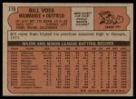 1972 Topps #776  Bill Voss  Back Thumbnail