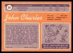 1970 Topps #84  John Charles  Back Thumbnail