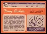 1970 Topps #243  Tony Baker  Back Thumbnail