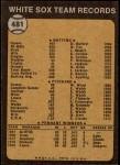 1973 Topps #481   White Sox Team Back Thumbnail