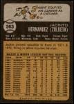 1973 Topps #363  Jackie Hernandez  Back Thumbnail