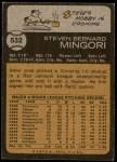 1973 Topps #532  Steve Mingori  Back Thumbnail
