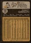 1973 Topps #190  Bob Gibson  Back Thumbnail