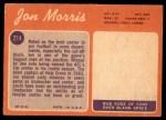 1970 Topps #214  Jon Morris  Back Thumbnail