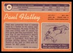 1970 Topps #66  Paul Flatley  Back Thumbnail