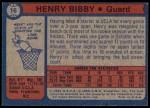 1974 Topps #16  Henry Bibby  Back Thumbnail