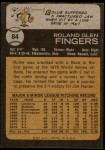 1973 Topps #84  Rollie Fingers  Back Thumbnail