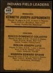 1973 Topps #449 ORA  -  Ken Aspromonte / Rocky Colavito / Joe Lutz / Warren Spahn Indians Leaders Back Thumbnail