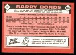1986 Topps Traded #11 T Barry Bonds  Back Thumbnail