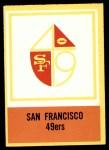 1967 Philadelphia #180   San Francisco 49ers Logo Front Thumbnail
