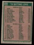 1975 Topps #306   -  Rod Carew / Ralph Garr Batting Leaders Back Thumbnail