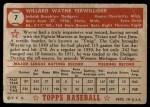 1952 Topps #7  Wayne Terwilliger  Back Thumbnail