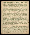1935 Diamond Stars #62  Fred Frankhouse   Back Thumbnail