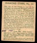 1935 Diamond Stars #50  Mel Ott   Back Thumbnail