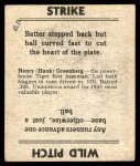 1936 Goudey #15  Hank Greenberg  Back Thumbnail