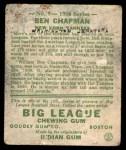 1934 Goudey #9  Ben Chapman  Back Thumbnail