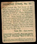 1935 Diamond Stars #43  Ted Lyons   Back Thumbnail