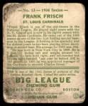 1934 Goudey #13  Frankie Frisch   Back Thumbnail