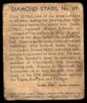 1935 Diamond Stars #87  Steve O'Neill    Back Thumbnail