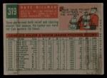 1959 Topps #319  Dave Hillman  Back Thumbnail