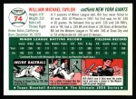 1994 Topps 1954 Archives #74  Bill Taylor  Back Thumbnail