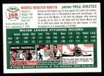 1954 Topps Archives #168  Morrie Martin  Back Thumbnail