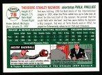 1994 Topps 1954 Archives #78  Ted Kazanski  Back Thumbnail