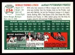 1954 Topps Archives #234  Jerry Lynch  Back Thumbnail