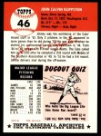 1953 Topps Archives #46  Johnny Klippstein  Back Thumbnail