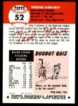 1991 Topps 1953 Archives #52  Ted Gray  Back Thumbnail
