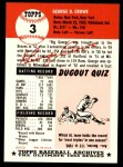 1991 Topps 1953 Archives #3  George Crowe  Back Thumbnail