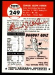 1953 Topps Archives #249  Eddie O'Brien  Back Thumbnail