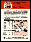 1991 Topps 1953 Archives #305  Carl Furillo  Back Thumbnail