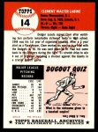 1953 Topps Archives #14  Clem Labine  Back Thumbnail