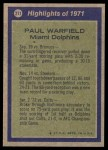 1972 Topps #271   -  Paul Warfield All-Pro Back Thumbnail