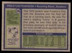 1972 Topps #306  Preston Pearson  Back Thumbnail