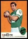 1969 Topps #100  Joe Namath  Front Thumbnail