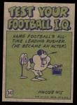 1972 Topps #343   -  Joe Namath Pro Action Back Thumbnail