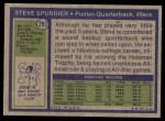 1972 Topps #291  Steve Spurrier  Back Thumbnail