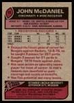1977 Topps #89  John McDaniel  Back Thumbnail