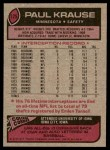 1977 Topps #125  Paul Krause  Back Thumbnail