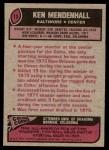 1977 Topps #13  Ken Mendenhall  Back Thumbnail