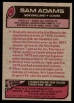 1977 Topps #14  Sam Adams  Back Thumbnail