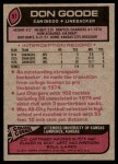 1977 Topps #97  Don Goode  Back Thumbnail