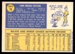 1970 Topps #76  Carl Taylor  Back Thumbnail