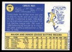 1970 Topps #18  Carlos May  Back Thumbnail